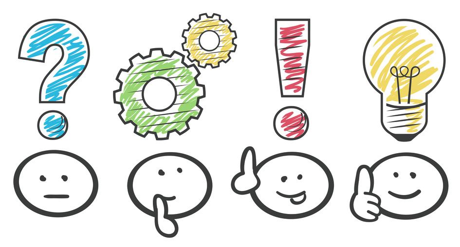 Strichmännchen entwickeln Ideen für die Logo Entwicklung