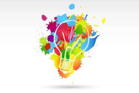 bunte Glühbirne steht für Kreativität bei der Logo Entwicklung