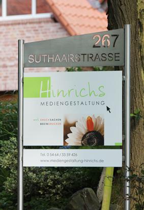 Schild Hinrichs Mediengestaltung, Rieste